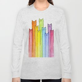 Cat Rainbow Watercolor Pattern Long Sleeve T-shirt