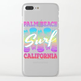 Here's A Great 80's design A Colorful 80's Design Saying Palm Beach Surf California T-shirt Design Clear iPhone Case
