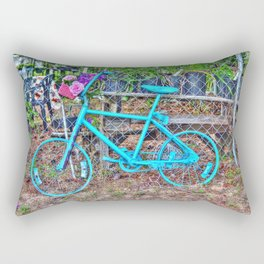 Turquoise Bicycle Rectangular Pillow