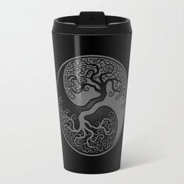 Gray and Black Tree of Life Yin Yang Travel Mug