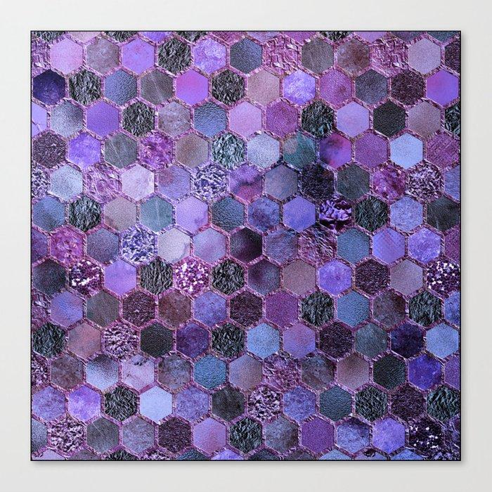 Purple geometric hexagonal elegant & luxury pattern Leinwanddruck