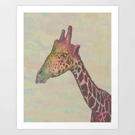 Giraffe in Technicolor Art Print