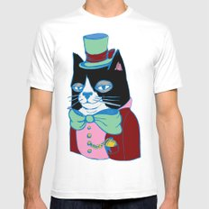 Dignified Cat Does Pastels White SMALL Mens Fitted Tee