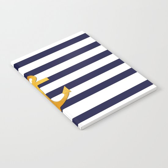 Marine pattern- blue white striped with golden anchor Notebook