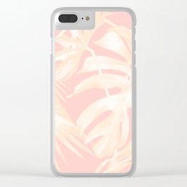 Tropical Palm Leaves on Pastel Pink II Clear iPhone Case