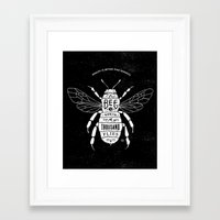 bee Framed Art Prints featuring BEE by bmddesign.fr