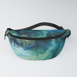 Abstract Blue Oil Painting Fractal Fanny Pack
