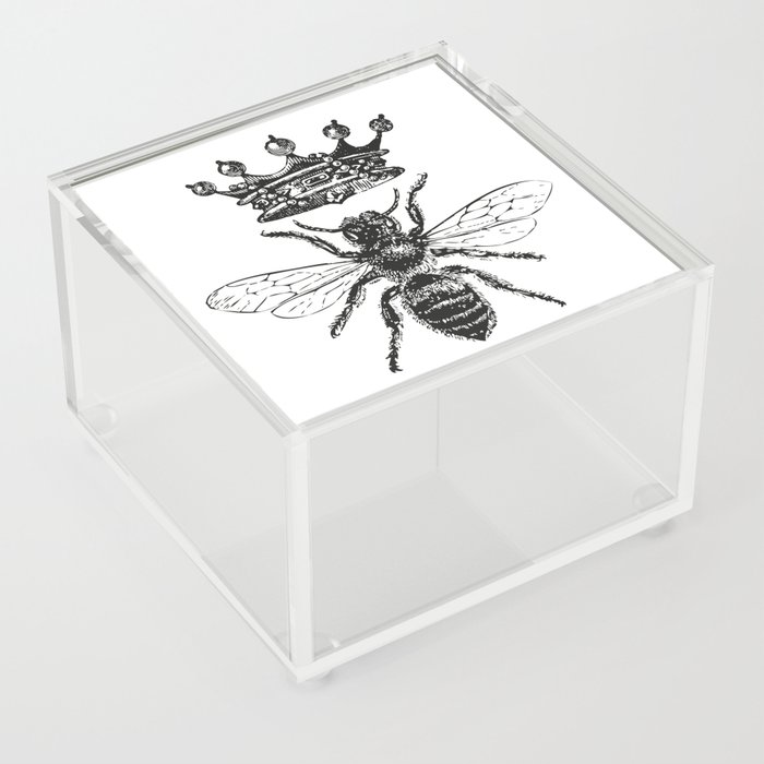 Queen Bee | Vintage Bee with Crown | Black and White | Acrylic Box