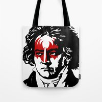 beethoven Tote Bags featuring Beethoven Rock by futbolko
