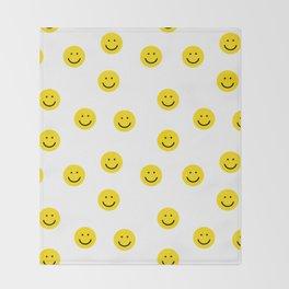 Smiley faces white yellow happy simple smiley pattern smile face kids nursery boys girls decor Throw Blanket