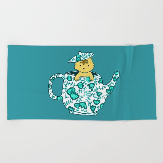Dinnerware sets - Kitten in a teapot Beach Towel