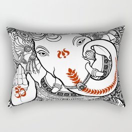 Ganesha Lineart Black Rectangular Pillow