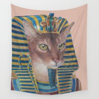 egyptian Wall Tapestries featuring Egyptian Cat by Rachel Waterman