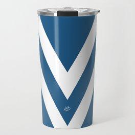 Blue V Abstract Retro Design Travel Mug