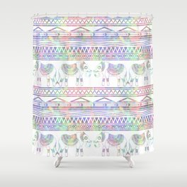 Pastel Elephant Tribal Pattern Shower Curtain