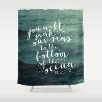 pocketfuel Shower Curtains featuring DEEPER THAN THE OCEAN by Pocket Fuel