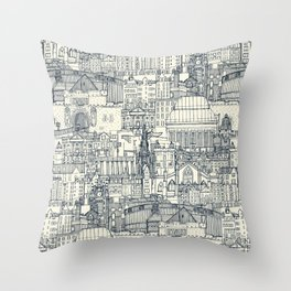 Edinburgh toile indigo pearl Throw Pillow