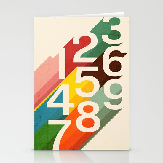Retro Numbers Stationery Cards