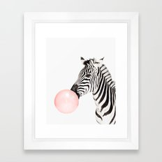 Funny zebra with pink bubble gum Framed Art Print