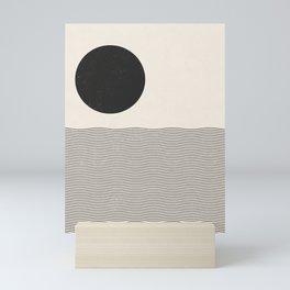 Sun and Sea, Abstract Mid-century modern woodblock style print Mini Art Print
