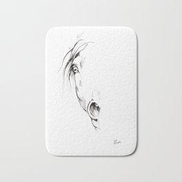 Horse head ink art Bath Mat