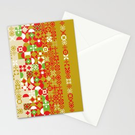 Red gold green abstract modern geometric background, pattern Stationery Cards