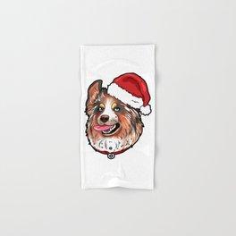 Australian Shepherd Christmas Hat Hand & Bath Towel