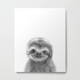 Baby Sloth Black & White, Baby Animals Art Print by Synplus Metal Print