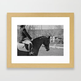 Black and White Dressage Framed Art Print