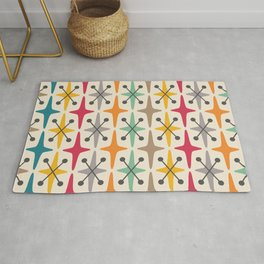 Colorful Mid Century Modern Abstract Star Pattern 225  Rug