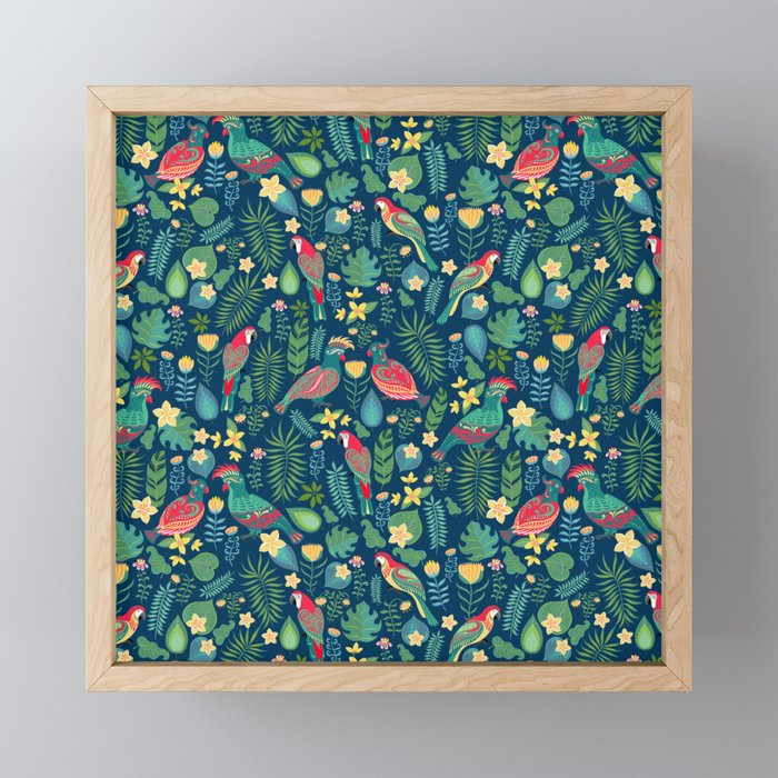 Parrots Blue Pattern Framed Mini Art Print