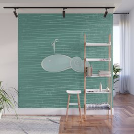 whale in the waves Wall Mural