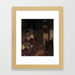 """Johannes Vermeer """"A Woman Asleep at Table"""" Framed Art Print"""