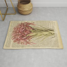 Book Art Page Pink Flower Rug