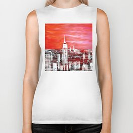 Abstract Red In The City Design Biker Tank