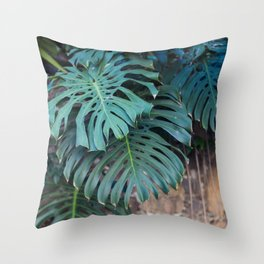 Monstera Print, Tropical Green Beauty Throw Pillow