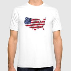 The Star-Spangled American Flag White SMALL Mens Fitted Tee