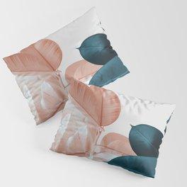 Blush & Blue Leaves Pillow Sham