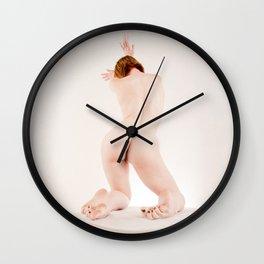 8638s-MM Art Model Megan Kneeling Toes Curled High Key Red Hair Wall Clock