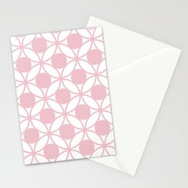 Geometric Orbital Spot Circles In Pastel Pink & White Stationery Cards
