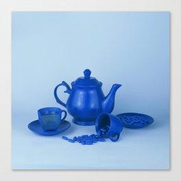Blue tea party madness - still life Canvas Print