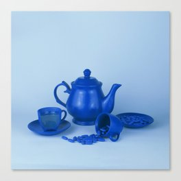 Blue tea party madness - still life Canvas Print
