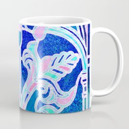 Art Nouveau Blue and Pink Batik Texture Coffee Mug