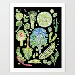 Harvest of Green - Black Art Print