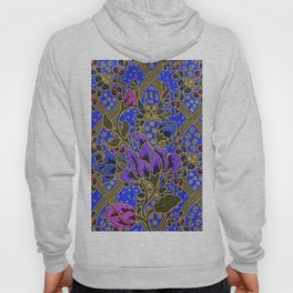 Neon Blue Purple Floral Pattern Leafs Hoody