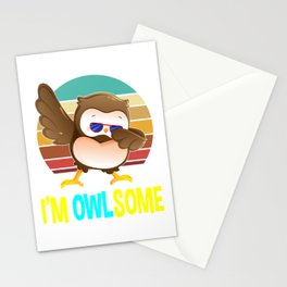 'm Owlsome Cute Dabbing Owl Hoot Gifts Stationery Cards