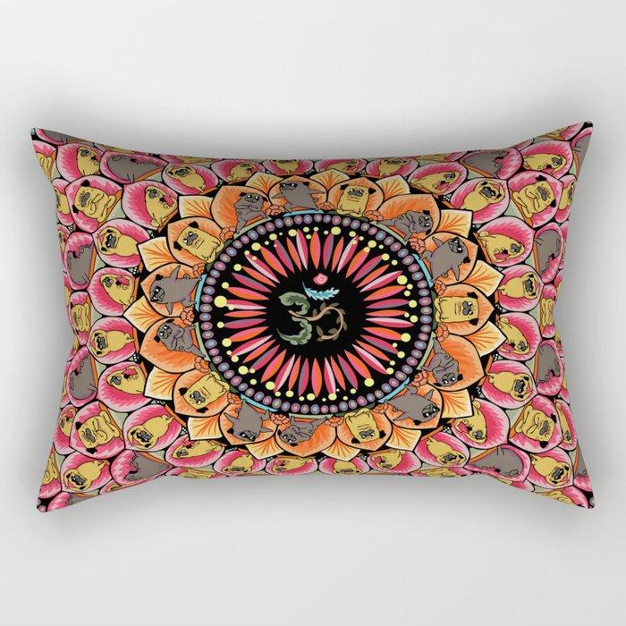Pug Yoga Mandala Rectangular Pillow