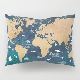 World Map Oceans Life blue #map #world Pillow Sham
