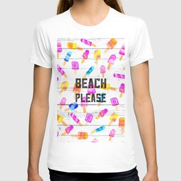 Summer beach typography ice cream watercolor wood T-shirt