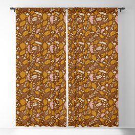 Fall Foliage in Gold + Brown Blackout Curtain
